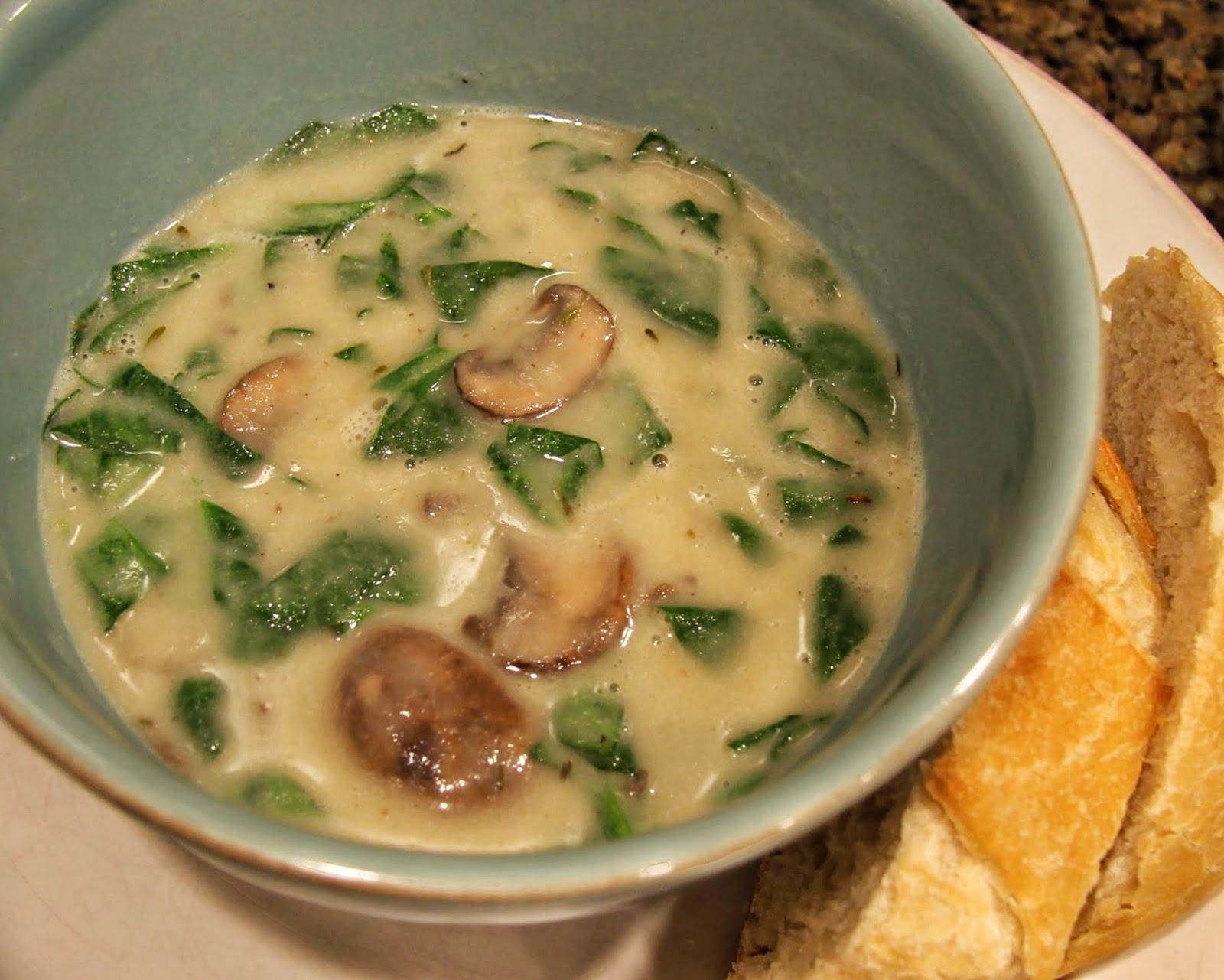 spinach mushroom soup