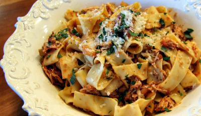 slow cooked chicken Ragu with pappardelle