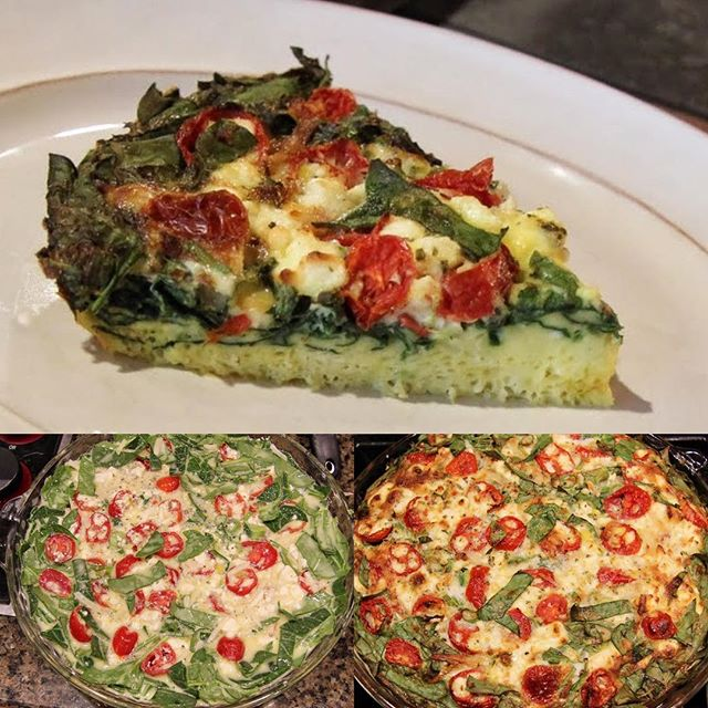 crustless spinach and tomato quiche