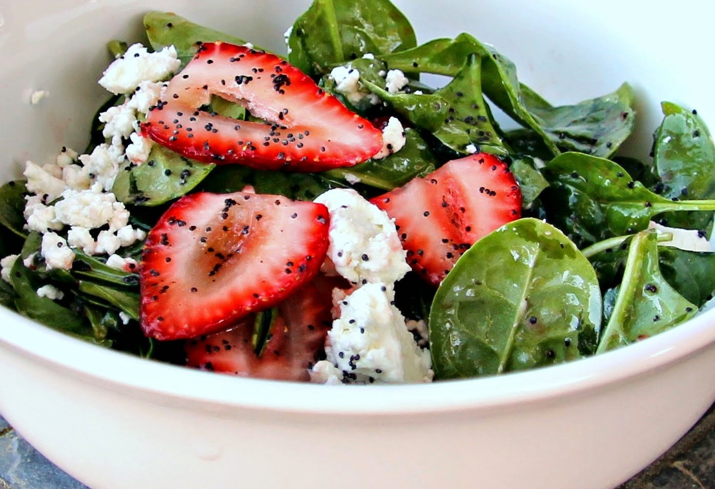 Spinach, Strawberry & Goat Cheese Salad with Poppyseed Vinaigrette